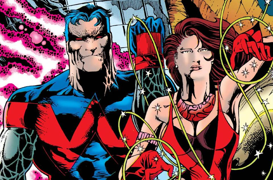 A close-up illustration of Wonder Man and the Scarlet Witch.