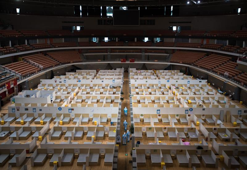 A sports venue in Wuhan, China, was transformed into a field hospital.