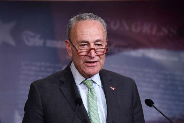 PHOTO: Senate Minority Leader Sen. Chuck Schumer speaks during a news conference on Capitol Hill in Washington, March 17, 2020. (Susan Walsh/AP, FILE)
