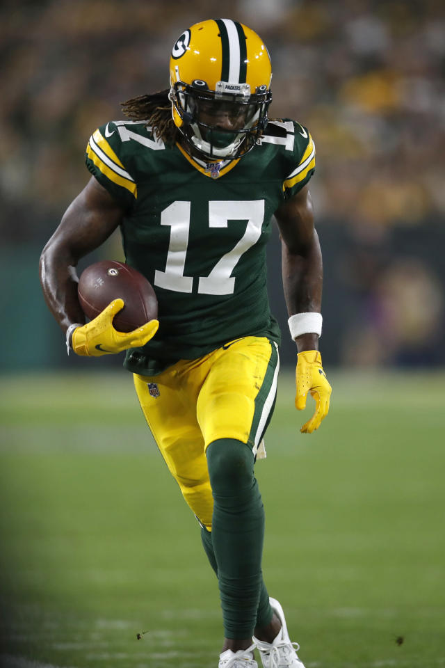 Green Bay Packers wide receiver Davante Adams (17) runs with the ball after a catch against the Philadelphia Eagles during an NFL football game, Thursday, Sept. 26, 2019, in Green Bay, Wis. The Eagles defeated the Packers 34-27. (Jeff Haynes/AP Images for Panini)