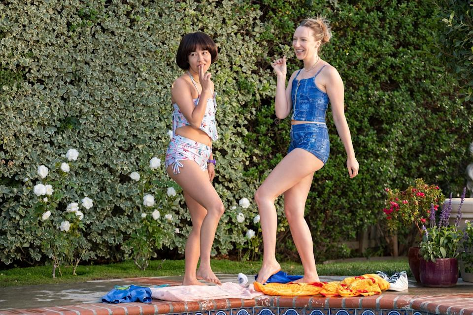 PEN15, from left: Maya Erskine, Anna Konkle, Pool, (Season 2, ep. 201, aired Sept. 18, 2020). photo: Erica Parise / Hulu / Courtesy Everett Collection