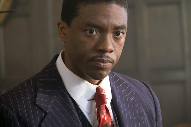"""Another biopic, another distant position in the Best Actor race. Chadwick Boseman's name has appeared on early prognostications before,first for playing Jackie Robinson in """"42"""" and later for boogying down as James Brown in """"Get on Up."""" This time, he <span>suited up</span> to play Thurgood Marshall defending a black chauffeur falsely accused of raping a white socialite. Open Road Films, which recently marched """"Spotlight"""" toward a Best Picture victory, hasn't updated its for-your-consideration website since last year's Oscar contest, which implies thedistributor doesn't have much mojo in its awards casket this time around. """"Marshall""""isn't a phenomenal movie, but Boseman deserves higher placement in this ranking."""