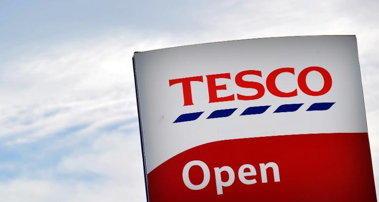 A picture shows the sign outside a Tesco store in Liverpool, north west England on April 16, 2014 (AFP Photo/Paul Ellis)