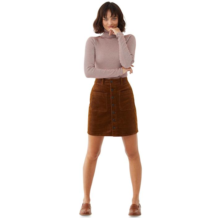 """<br> <br> <strong>Free Assembly</strong> Organic Cotton Corduroy Skirt, $, available at <a href=""""https://go.skimresources.com/?id=30283X879131&url=https%3A%2F%2Fwww.walmart.com%2Fip%2FFree-Assembly-Women-s-Corduroy-Button-Front-Skirt%2F141776168"""" rel=""""nofollow noopener"""" target=""""_blank"""" data-ylk=""""slk:Walmart"""" class=""""link rapid-noclick-resp"""">Walmart</a>"""