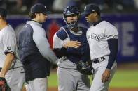 New York Yankees relief pitcher Aroldis Chapman, right, celebrates the team's 3-2 victory over the Toronto Blue Jays with catcher Gary Sanchez, center, and pitcher Gerrit Cole, left, in a baseball game Wednesday, June 16, 2021, in Buffalo, N.Y. (AP Photo/Jeffrey T. Barnes)