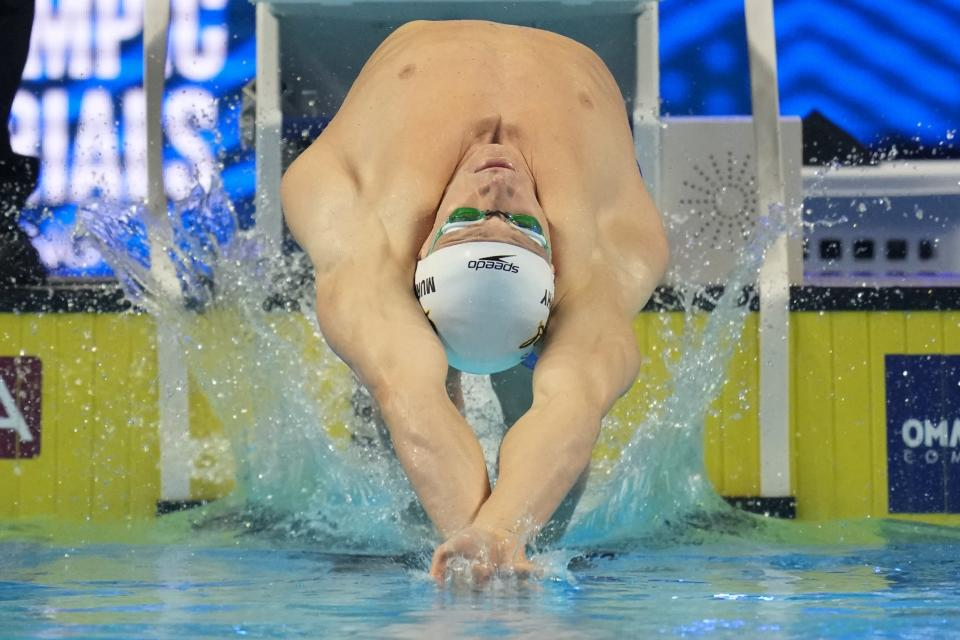 Ryan Murphy participates in the men's 200 backstroke during wave 2 of the U.S. Olympic Swim Trials on Friday, June 18, 2021, in Omaha, Neb. (AP Photo/Charlie Neibergall)
