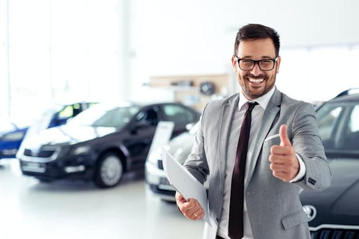 "<span class=""caption"">Driving up that commission.</span> <span class=""attribution""><a class=""link rapid-noclick-resp"" href=""https://www.shutterstock.com/image-photo/successful-businessman-car-dealership-sale-vehicles-1159954417"" rel=""nofollow noopener"" target=""_blank"" data-ylk=""slk:Shutterstock"">Shutterstock</a></span>"