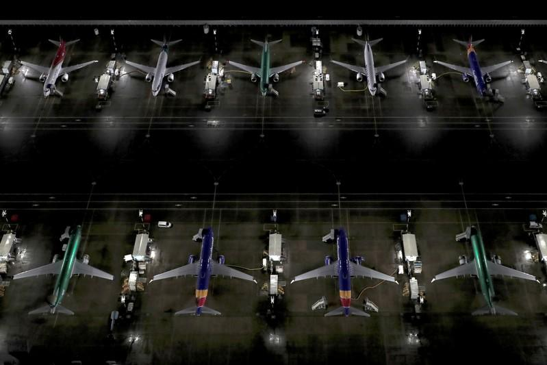 Aerial photos show Boeing 737 Max airplanes on the tarmac in Seattle