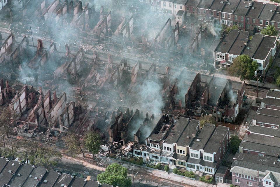 Some 60 homes were destroyed by fire after the police engaged in a shoot-out and bombed the MOVE house in West Philadelphia.