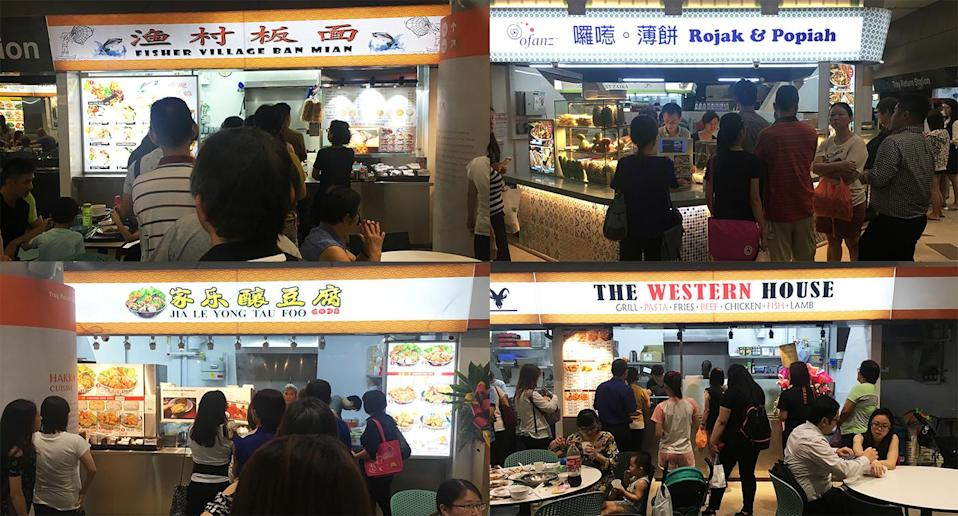Some of the stalls at Kampung Admiralty Hawker Centre with longer queues. (Photo: Gabriel Choo / Yahoo Lifestyle Singapore)