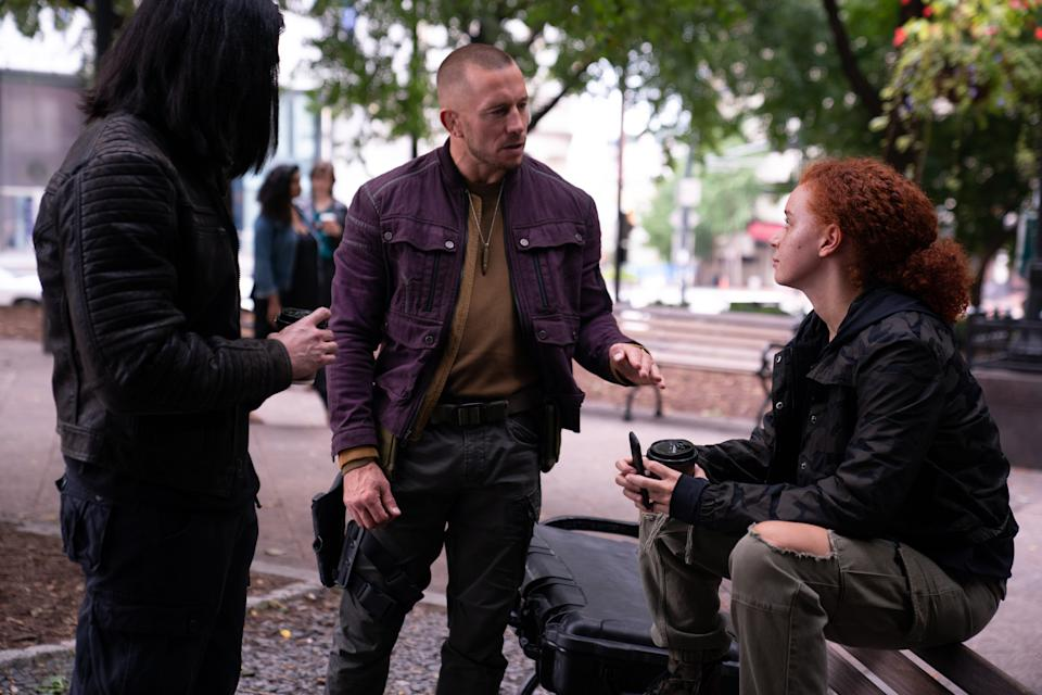 (L-R): Dovich (Desmond Chiam), Batroc (Georges St-Pierre) and Karli Morgenthau (Erin Kellyman) in Marvel Studios' THE FALCON AND THE WINTER SOLDIER exclusively on Disney+. Photo by Eli Adé. ©Marvel Studios 2021. All Rights Reserved.