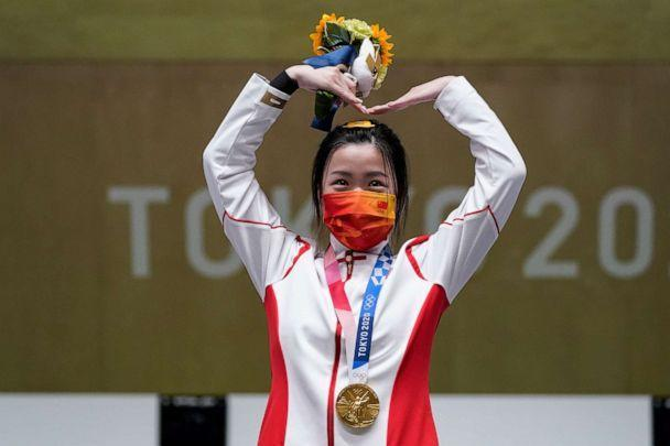 PHOTO: Yang Qian, of China, reacts after winning the gold medal in the women's 10-meter air rifle at the Asaka Shooting Range in the 2020 Summer Olympics, Saturday, July 24, 2021, in Tokyo, Japan. (Alex Brandon/AP Photo)