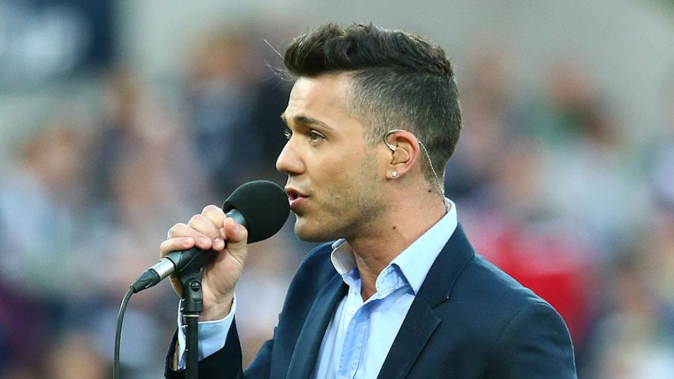 Anthony Callea singing at FFA Cup Final match in 2015