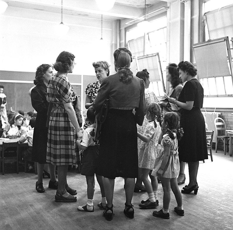 <p>Students and teachers gather together at PS 221 in Brooklyn, New York. </p>
