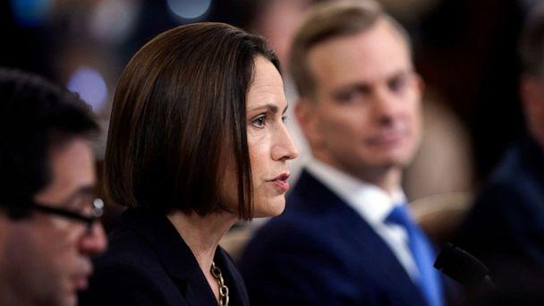PHOTO: Fiona Hill speaks while David Holmes watches before the House Intelligence Committee on Capitol Hill, Nov. 21, 2019, in Washington. (Win Mcnamee/Getty Images)