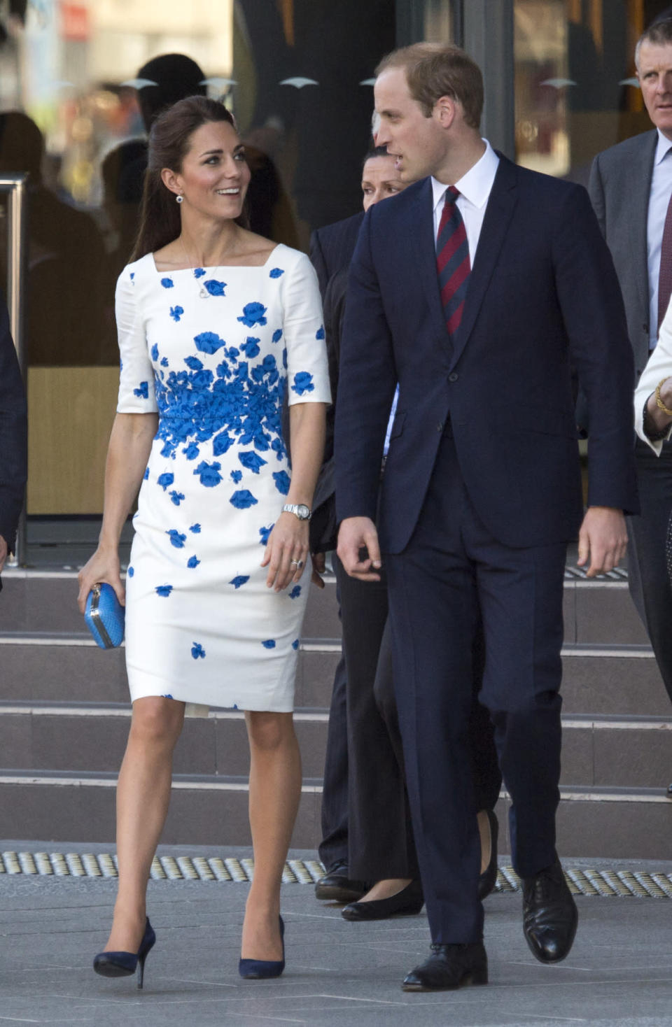 <p>Kate met the crowds in Brisbane in a summery floral dress by L.K. Bennett. She accessorised with an aqua blue clutch by Australian brand, Oroton, and Alexander McQueen pumps. </p><p><i>[Photo: PA]</i></p>