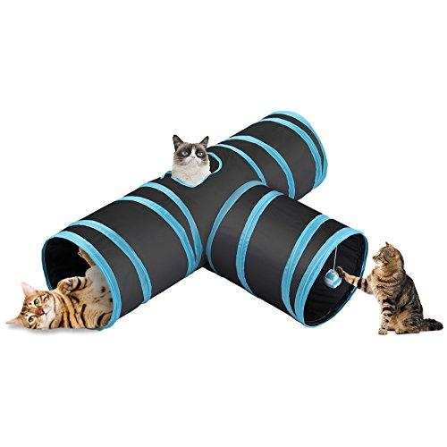 CO-Z Collapsible Cat Tunnel Tube Kitty Tunnel Bored Cat Pet Toys Peek Hole Toy Ball Cat, Puppy, Kitty, Kitten, Rabbit (3-Way Black) (Amazon / Amazon)