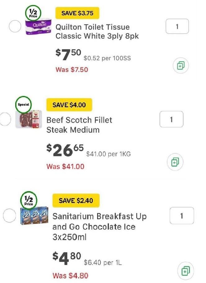 Incorrectly displayed prices on the Woolworths app. Source: Facebook via Woolworths app