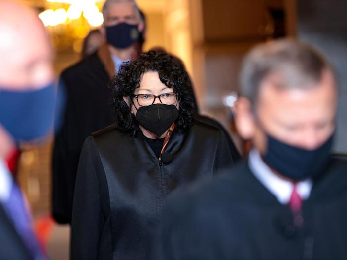 <p> Supreme Court Justice Sonia Sotomayor arrives at the 59th Presidential Inauguration in Washington, DC, on 20 January 2021</p> ((Reuters))