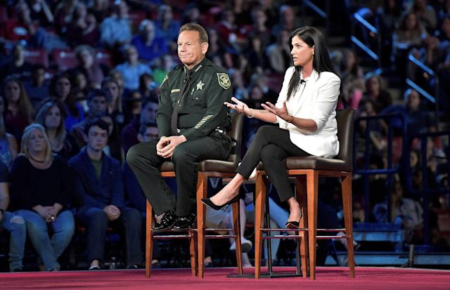 National Rifle Association spokeswoman Dana Loesch takes questions with Broward Sheriff Scott Israel during the CNN town hall meeting. (Photo: Michael Laughlin/Pool/Reuters)