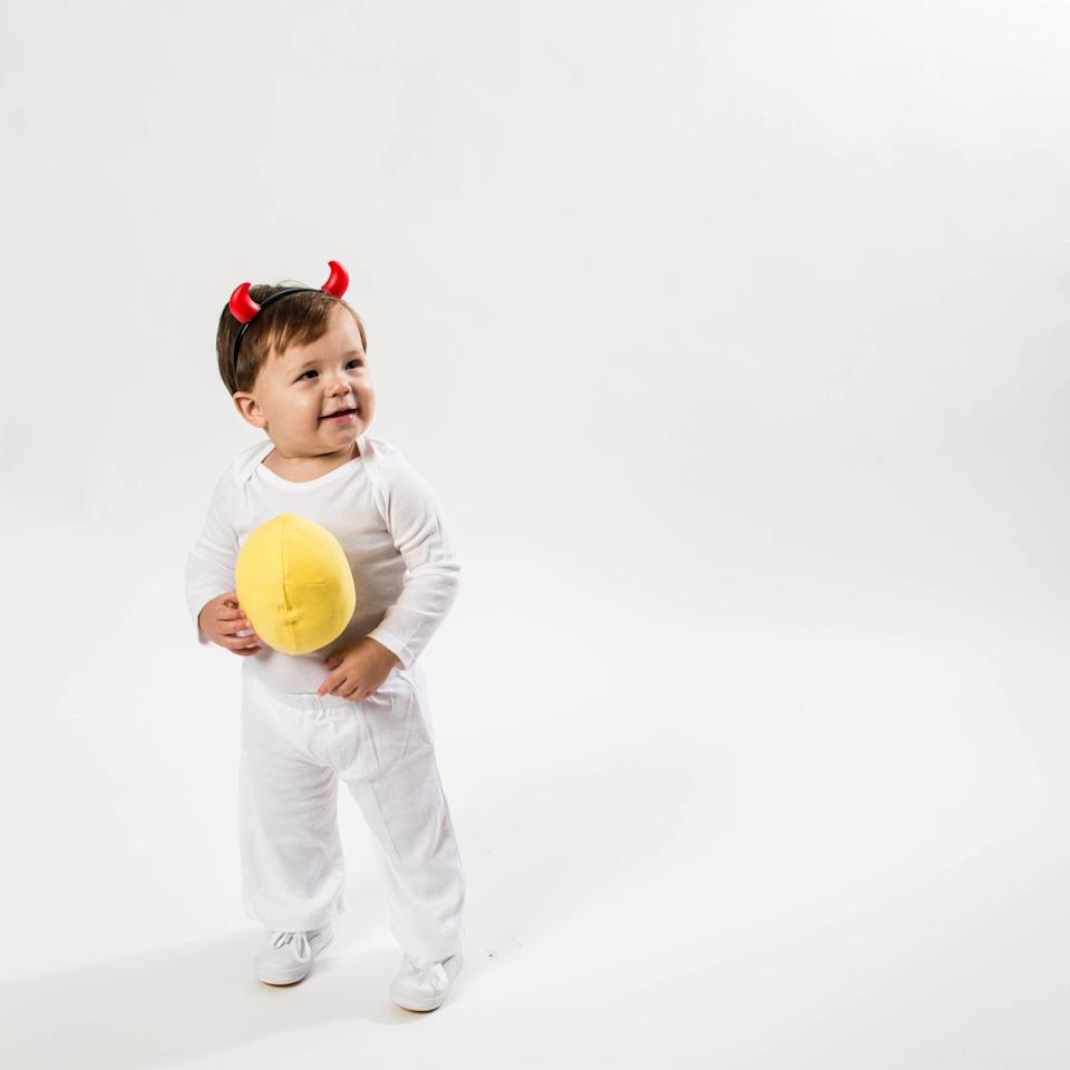 """<p>If you think the devil costume is a tad, well, overdone, then try this fiery spin on the classic disguise. Begin with all-white basics and then get the how-tos <a href=""""http://www.southernliving.com/home-garden/holidays-occasions/easy-diy-halloween-costumes/how-to-deviled-egg-costume"""" target=""""_blank"""">here</a>. </p>"""