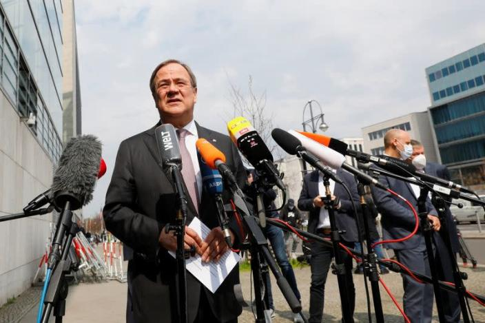 Head of CDU party, Armin Laschet speaks to journalists after meetings at the CDU headquarters in Berlin