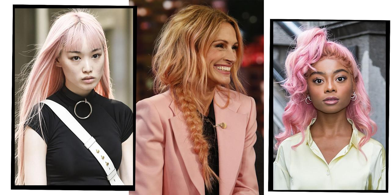"<p>Rose gold <a href=""https://www.elle.com/uk/beauty/hair/g30440796/celebrity-hair-transformations/"" target=""_blank"">hair</a> - it's somewhere between <a href=""https://www.elle.com/uk/beauty/hair/g21218563/pink-hair-ideas/"" target=""_blank"">pink</a>, peach and totally beautiful. </p><p>The more sophisticated nod to <a href=""https://www.elle.com/uk/beauty/hair/g17122/celeb-watch-rainbow-hair/"" target=""_blank"">rainbow</a> hair, <a href=""https://www.elle.com/uk/beauty/hair/a38971/rose-gold-hair-for-grown-ups/"" target=""_blank"">rose gold </a>is the super flattering hair colour that every cool girl wants. </p><p>From <a href=""https://www.elle.com/uk/fashion/celebrity-style/articles/g16471/sienna-miller-style-file/"" target=""_blank"">Sienna Miller's</a> tie dye hue that started the trend, to badass model <a href=""https://www.elle.com/uk/fashion/celebrity-style/g6003/lady-mary-charteris-wears-pam-hogg-on-her-wedding-day/"" target=""_blank"">Mary Charteris</a> and <a href=""https://www.elle.com/uk/life-and-culture/a33909746/salma-hayek-swimsuit-54-birthday-instagram/"" target=""_blank"">Salma Hayek's </a>bubblegum pink take on the situation, rose gold hair is here to stay.</p><p>Depending on what your OG <a href=""https://www.elle.com/uk/beauty/hair/a37024/blonde-hair-trends/"" target=""_blank"">hair colour </a>is like, it's not as complicated as it looks to achieve the trendy hue. 'Unless your hair is naturally<a href=""https://www.elle.com/uk/beauty/hair/a34299/how-to-make-blonde-hair-work-for-you-no-matter-what/"" target=""_blank""> blonde </a>(very pale yellow) you will need to pre-lighten your hair first,' explains <a href=""https://www.instagram.com/shangallacher/"" target=""_blank"">Shannon Gallacher</a>, Senior Colourist at <a href=""https://www.instagram.com/nicolaclarkecolour/"" target=""_blank"">Nicola Clarke </a>at <a href=""https://www.instagram.com/johnfriedasalons/"" target=""_blank"">John Frieda Salons</a>. 'Either by doing a solid bleach, highlights or balayage. Once the hair is light enough it will be toned with a rose gold toner.'</p><p>The best part? If you're not feeling it, it's not as much of a commitment as other colours out there. 'I think rose gold is a pretty safe colour to experiment with as it suits almost every skin tone making it a very popular look. Due to the colour being very temporary it's safe to try without the commitment but also easy to top up if wanted', says Gallacher. </p><p>Read on for all the rose gold hair inspiration you could ever want all satisfyingly in one place.</p>"