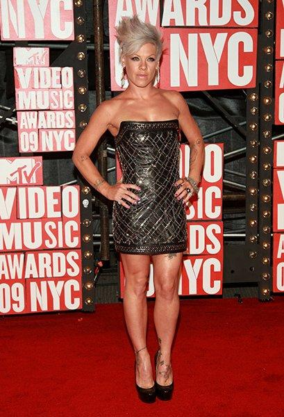 'Twas the year of a certain black leather Balmain mini dress (and a styling face-off with Shakira). P!nk saw the hard-edged personality of the dress and raised it a couple notches.