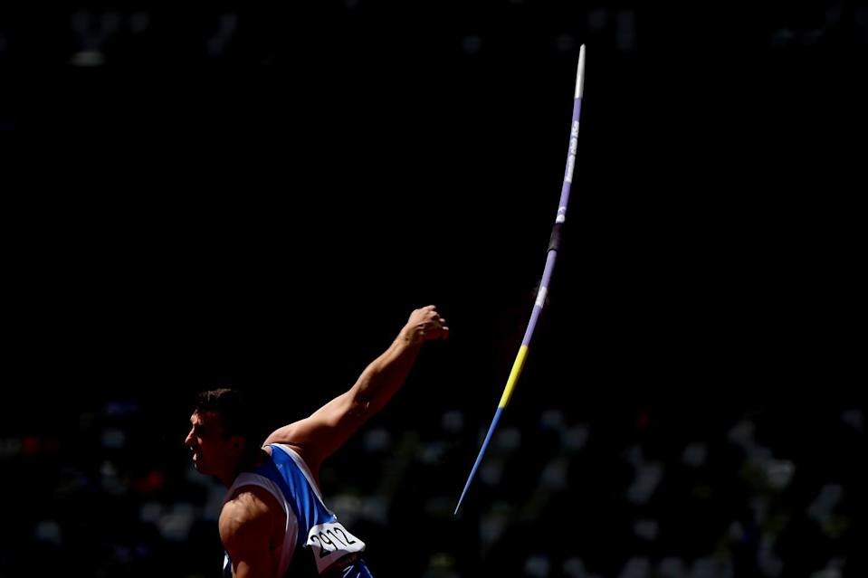 Moldova's Anddrian Mardare makes a throw in the men's javelin throw qualification.