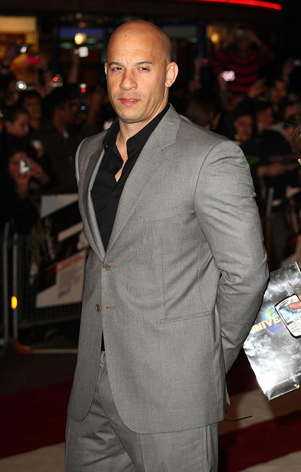 """<a href=""""http://movies.yahoo.com/movie/contributor/1800020716"""">Vin Diesel</a> at the London premiere of <a href=""""http://movies.yahoo.com/movie/1809989992/info"""">Fast & Furious</a> - 03/19/2009"""