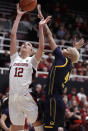 Stanford guard Lexie Hull (12) shoots next to California's Alaysia Styles during the first half of an NCAA college basketball game Friday, Jan. 10, 2020, in Stanford, Calif. (AP Photo/Ben Margot)