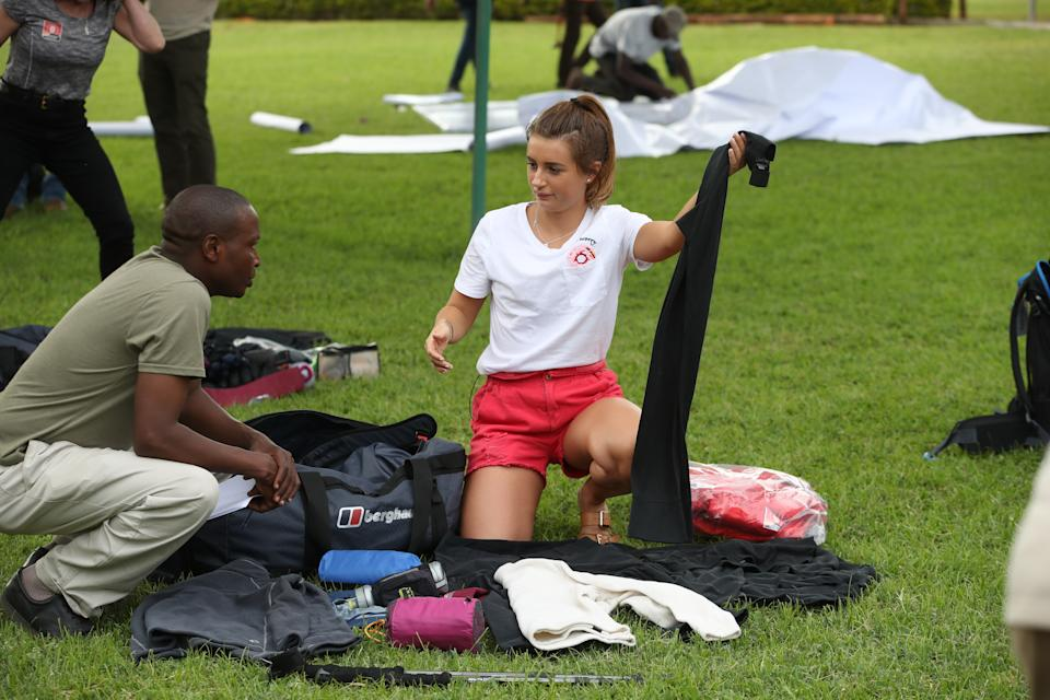 ARUSHA, TANZANIA - FEBRUARY 22: (STRICTLY EDITORIAL USE ONLY) Dani Dyer prepares ahead of 'Kilimanjaro: The Return' for Red Nose Day on February 22, 2019 in Arusha, Tanzania, all to raise funds for Comic Relief supported projects in the UK and around the world. (Photo by Chris Jackson/Comic Relief/Getty Images for Comic Relief)