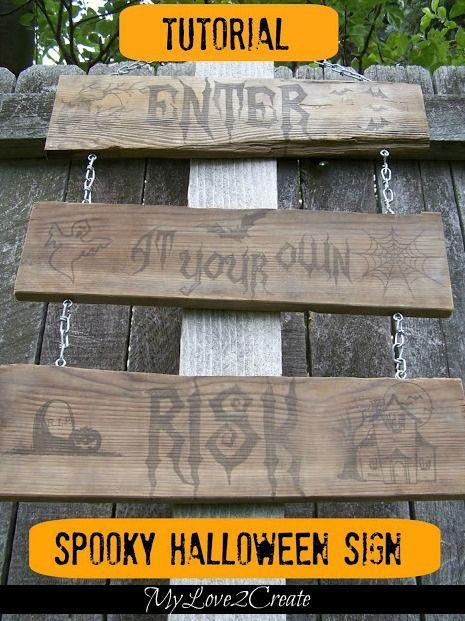"<p>No, you don't need to pile into the car to experience the fun of a haunted house! You can re-create the same good time right at home with an <a href=""https://www.amazon.com/Halloween-Fog-Machine-Professional-Generation/dp/B07PFKZGYR/?tag=syn-yahoo-20&ascsubtag=%5Bartid%7C10050.g.4620%5Bsrc%7Cyahoo-us"" rel=""nofollow noopener"" target=""_blank"" data-ylk=""slk:inexpensive fog machine"" class=""link rapid-noclick-resp"">inexpensive fog machine</a> and some <a href=""https://www.countryliving.com/entertaining/g271/halloween-decorating-1005/"" rel=""nofollow noopener"" target=""_blank"" data-ylk=""slk:seriously eerie decorations"" class=""link rapid-noclick-resp"">seriously eerie decorations</a>. We recommend starting with a spooky DIY sign, like the one shown here.</p><p><strong>Get </strong><strong>the tutorial at </strong><strong><a href=""https://www.mylove2create.com/2013/10/a-rustic-diy-halloween-sign.html"" rel=""nofollow noopener"" target=""_blank"" data-ylk=""slk:My Love 2 Create"" class=""link rapid-noclick-resp"">My Love 2 Create</a>.</strong></p><p><a class=""link rapid-noclick-resp"" href=""https://www.amazon.com/Happy-Halloween-Wicked-Stencil-Template/dp/B076VW3W2W/ref=sr_1_3_sspa?tag=syn-yahoo-20&ascsubtag=%5Bartid%7C10050.g.4620%5Bsrc%7Cyahoo-us"" rel=""nofollow noopener"" target=""_blank"" data-ylk=""slk:SHOP HALLOWEEN STENCILS"">SHOP HALLOWEEN STENCILS</a><br></p>"