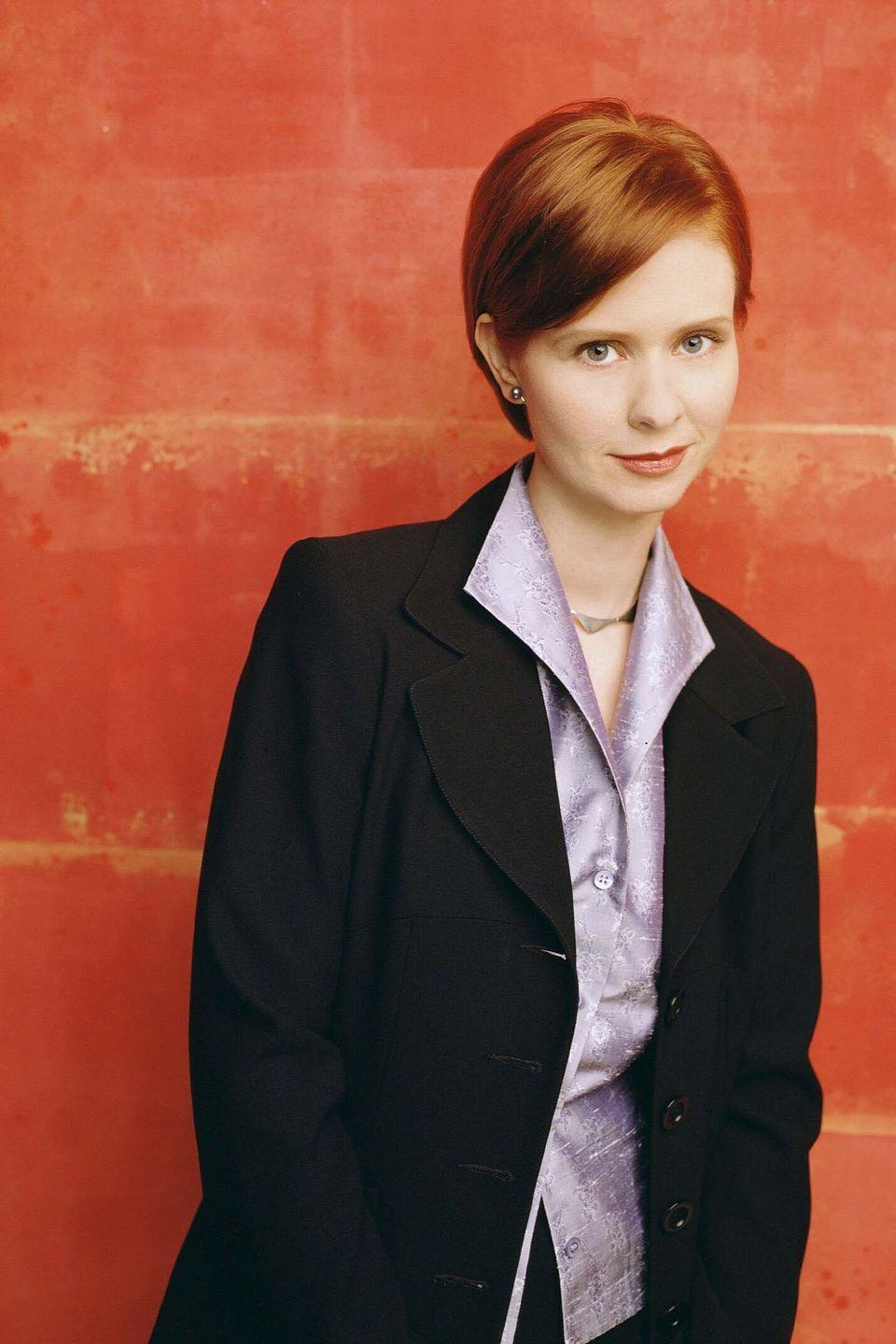 <p>While you could definitely take a cue from preppy Charlotte York or from Samantha Jones' colourful wardrobe, there is no greater workwear inspiration in Sex and the City than hotshot lawyer Miranda Hobbes, played by Cynthia Nixon, whose late Nineties/early Noughties tailoring is pure perfection.</p>