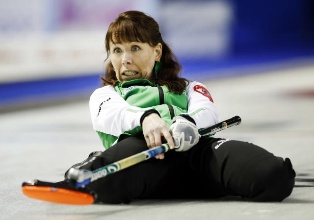 Saskatchewan skip Jill Shumay watches her final shot to defeat Team Canada during the twelfth draw at Scotties Tournament of Hearts curling championship in Kingston, February 21, 2013. REUTERS/Mark Blinch (CANADA - Tags: SPORT CURLING TPX IMAGES OF THE DAY) - RTR3E2W6