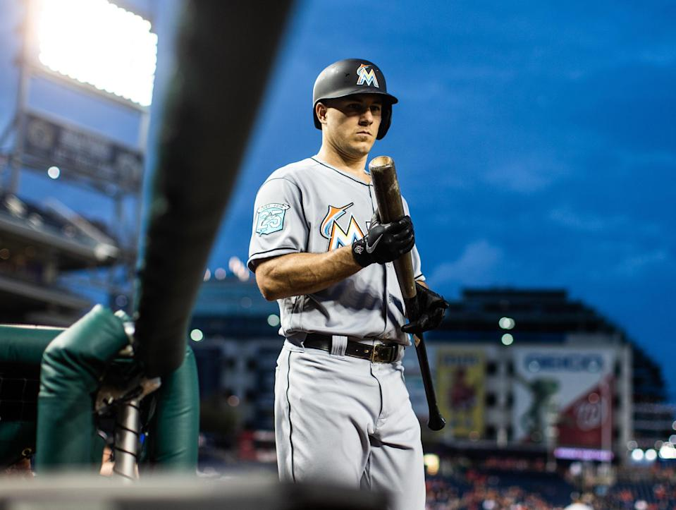 WASHINGTON, D.C. – SEPTEMBER 25: J.T. Realmuto #11 of the Miami Marlins looks on during a game against the Washington Nationals at Nationals Park on Tuesday, September 25, 2018 in Washington, D.C. (Photo by Rob Tringali/MLB Photos via Getty Images)