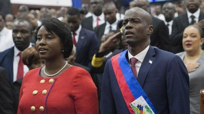 Haitian President Jovenel Moise (R) poses with his wife Martine Marie Etienne Joseph (L), during his investiture ceremony, at Legislative Palace in Port-au-Prince, Haiti, 07 February 2017