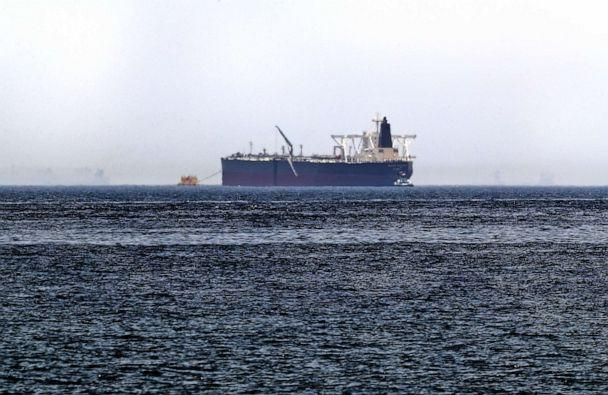 PHOTO: A picture taken on May 13, 2019, shows the crude oil tanker, Amjad, which was one of two Saudi tankers that were reportedly damaged in mysterious 'sabotage attacks', off the coast of the Gulf emirate of Fujairah. (Karim Sahib/AFP/Getty Images)