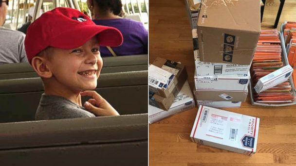 PHOTO: Brock Chadwick, 7, has received nearly 1,000 greeting cards from strangers as far as Singapore after his family member asked people on Facebook to send him well wishes for Halloween. (Courtesy Brittney Horton)