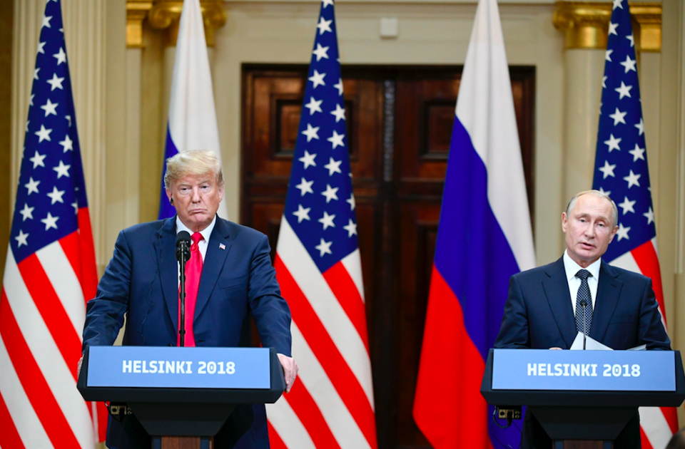 <em>The President openly questioned his own intelligence agencies' finding that Russia meddled in the 2016 US election (PA)</em>