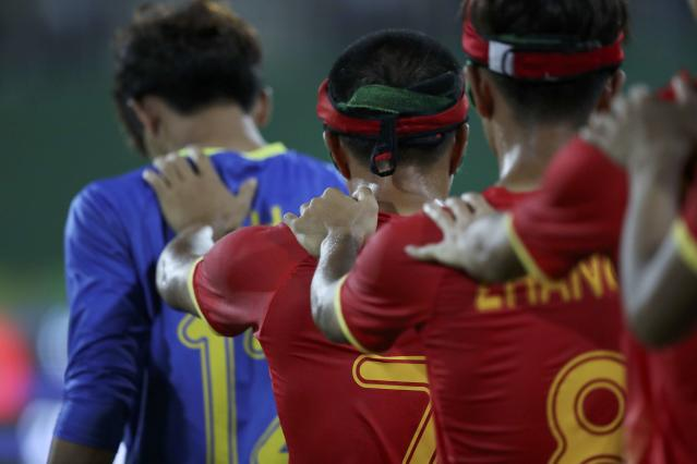 2016 Rio Paralympics - Football Soccer - Men's 5-a-side Preliminaries Pool B - China v Mexico - Olympic Tennis Centre - Rio de Janeiro, Brazil - 11/09/2016. Players of the team China. REUTERS/Ueslei Marcelino FOR EDITORIAL USE ONLY, NOT FOR SALE FOR MARKETING OR ADVERTISING CAMPAIGNS.