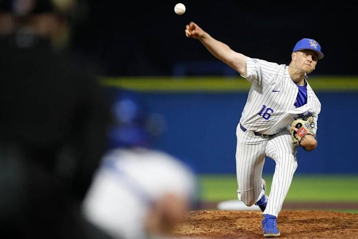 Kentucky pitcher Cole Stupp, a sophomore, tied for the team lead in starts with 13 in 2021. He finished with a 4.76 ERA.