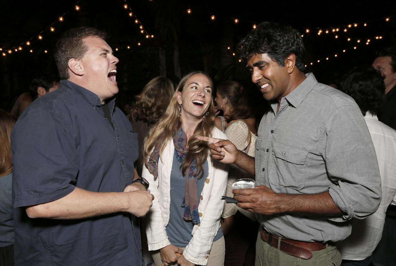 Commercial Image: LOS ANGELES, CA - JULY 24: Kevin Heffernan, Millennium Entertainment's Director of Acquisitions Tristen Tuckfield and Director/Actor Jay Chandrasekhar attend the after party for a screening of Millennium Entertainment's 'The Babymakers' at the Silent Movie Theatre on July 24, 2012 in Los Angeles, California. (Photo by Todd Williamson/Invision for Millennium Entertainment /AP Images)