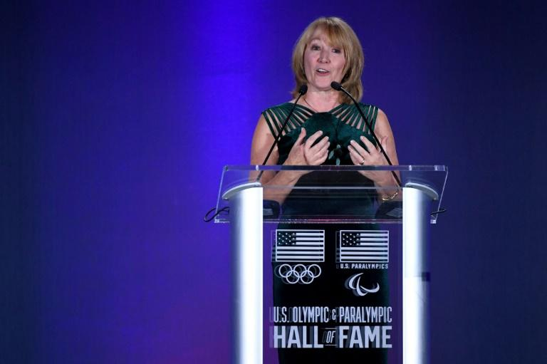 Susanne Lyons, the USOPC Chair speaks during the US Olympic Hall of Fame 2019 induction ceremony in Colorado Springs, Colorado