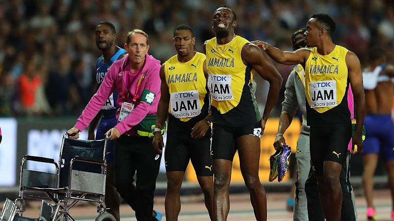 Bolt with his shattered teammates. Pic: Getty