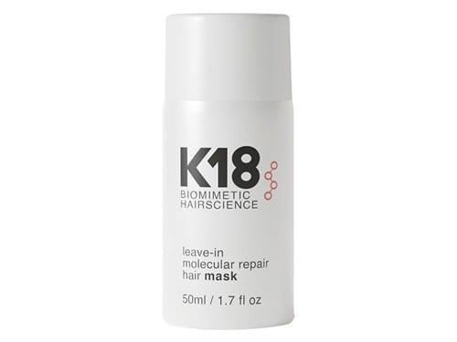 <p>The <span>K18 Leave-In Molecular Repair Hair Mask</span> ($75) repairs damage caused by bleaching and coloring, heat styling, and chemical-treatments. It's formulated with a patented bioactive peptide treatment that strengthens ends and improves elasticity for smoother, healthier hair.</p>