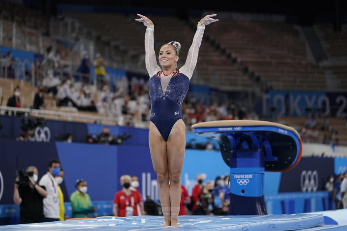 Mykayla Skinner of the United States, performs on the vault during the artistic gymnastics women's apparatus final at the 2020 Summer Olympics, Sunday, Aug. 1, 2021, in Tokyo, Japan. (AP Photo/Ashley Landis)