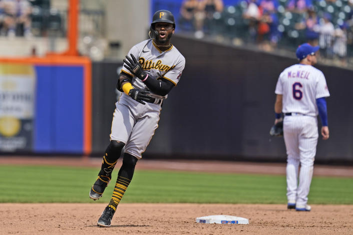 Pittsburgh Pirates' Rodolfo Castro reacts after hitting a two-run home run during the sixth inning of a baseball game against the New York Mets at Citi Field, Sunday, July 11, 2021, in New York. (AP Photo/Seth Wenig)