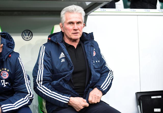 Soccer Football - Bundesliga - VfL Wolfsburg vs Bayern Munich - Volkswagen Arena, Wolfsburg, Germany - February 17, 2018 Bayern Munich coach Jupp Heynckes before the match REUTERS/Fabian Bimmer DFL RULES TO LIMIT THE ONLINE USAGE DURING MATCH TIME TO 15 PICTURES PER GAME. IMAGE SEQUENCES TO SIMULATE VIDEO IS NOT ALLOWED AT ANY TIME. FOR FURTHER QUERIES PLEASE CONTACT DFL DIRECTLY AT + 49 69 650050