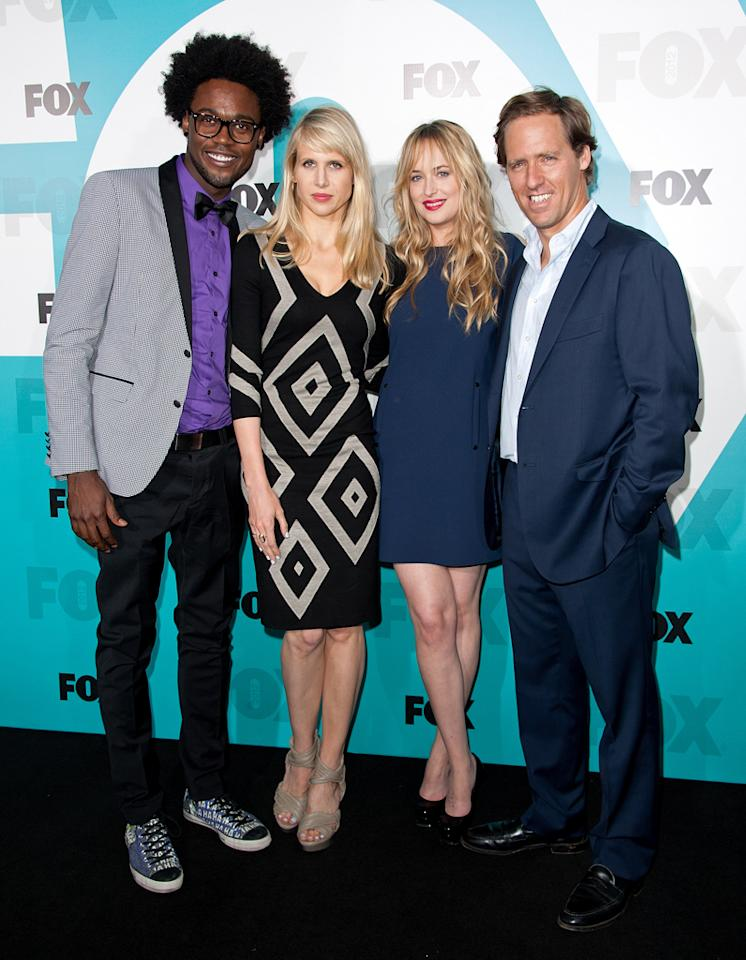"Echo Kellum, Lucy Punch, Dakota Johnson, and Nat Faxon (""Ben and Kate"") attend the Fox 2012 Upfronts Post-Show Party on May 14, 2012 in New York City."